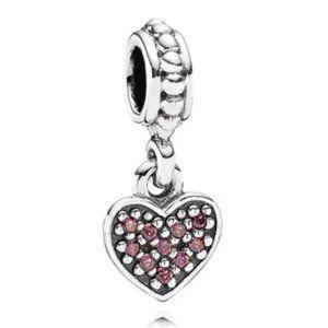 Pandora Red Pavé Hanging Heart Dangle Charm